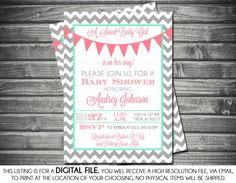 Girls Baby Shower Invitation - Chevron, Banner, Pink, Mint Green, Gray, Printable, Digital