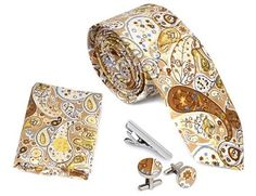 4pc Floral Design Matching Pattern Mens Fashion Accessories Set