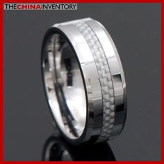 MEN`S SIZE 8 RING WHITE CARBON FIBER TUNGSTEN BAND R4002