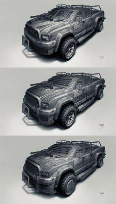 Postapo cars - Pickup-jeep by hunterkiller