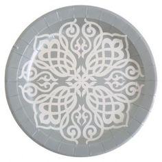 Assiette carton orientale argent blanc 23 cm les 10, mariage, wedding, art de table, Assiette carton pas chère, orient, 1001 nuits, déco chic, vaisselle jetable