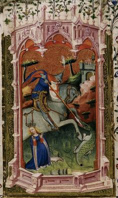 St George and the dragon. Detail of a miniature from the Beaufort/Beauchamp Hours, England (London) and Netherlands (Bruges), c. British Library: Royal MS 2 A XVIII, f. Dragon Medieval, Medieval Life, Medieval Art, Medieval Manuscript, Illuminated Manuscript, Hl Georg, Patron Saint Of England, Isaiah 25, Saint George And The Dragon