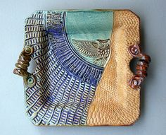 Hand-built Stoneware Owl Platter. Stunning texture and glazing. And I love the riveted curly handles...