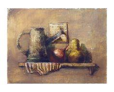 arte pittura natura morta olio giardiniere annaffiatoio frutta calendario originale