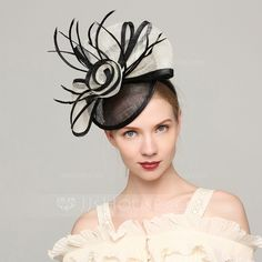 [£ Ladies' Elegant Cambric/Feather With Feather Fascinators/Kentucky Derby Hats/Tea Party Hats - JJ's House Fascinator Hats, Fascinators, Sinamay Hats, Headpieces, Medium Shag Haircuts, Derby Outfits, Cheap Hats, Tea Party Hats, Womens Fashion Stores