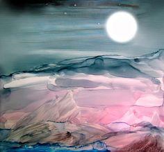 ART/ALCOHOL BASED + TIPS * TECHNIQUES - Pink Quartz Island Under The Moon Alcohol Inks Danielle Parent