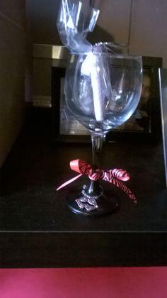 Chalkboard wine glass and charm