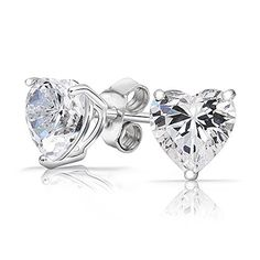 Authentic 925 Sterling Silver 2.00 Carat Heart Cz Cubic Zirconia 7mm Studs Earrings by FANTOM JEWELRY -- Awesome products selected by Anna Churchill
