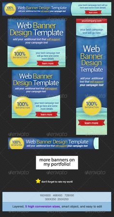 Web Banner Design Template  #GraphicRiver        Here's a multipurpose web banner ideal for your online marketing This includes 5 high conversion banner ad sizes that will attract potential buyers or customers. Web Banner sizes These are the banner sizes that will give you high rate of conversion    leaderboard (728×90)   banner (468×60)   button (125×125)   wide skyscraper (160×600)   medium rectangle (300×250)  Website Banner Templates 	   Usage   Web Advertisement  Google Adwords  Online…