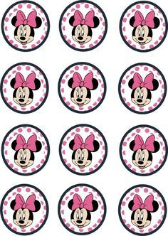 Instant Download Printable 12 x Minnie Mouse Birthday Cupcake Toppers