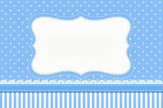Poá Azul e Listras - Kit Completo com molduras para convites, rótulos para…