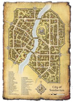 City of Sumberton from Shattered Gates Of Slaughterguard, a DnD 3.5 adventure for levels 1-6