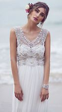 Bohemian Beaded Pearls Chiffon Beach Wedding Dress Boho Bridal Gown Custom Size