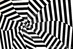 A kinetic black and white picture of converging stripes