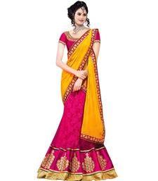 Buy Pink brasso embroidered Semi stitched lehenga choli lehenga-choli online