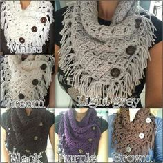 Different version of the Margaret Cotton Cowl: FREE crochet pattern from Fiber Flux http://www.fiberfluxblog.com/2014/09/free-crochet-patternmargaret-button-cowl.html