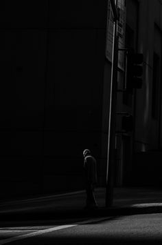 "♂ Black and white photography Man alone in dark street ""It's My Own Fault"" by Rinzi Ruiz"