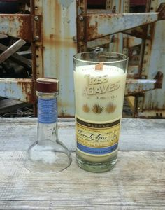 Tequila Gift Liquor Bottle Candle  Tres Agaves by ReWineIt02346