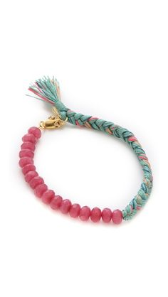 Shashi Roxy Large Bracelet$80 silk cords strawberry qtz fake clasp 6.5''