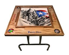 Excited to share the latest addition to my shop: Simbolos Boricuas Domino Table Domino Table, Wooden Leg, Drink Holder, Drafting Desk, Woodworking Projects, Cool Stuff, Wood Working, Tables, Etsy Shop