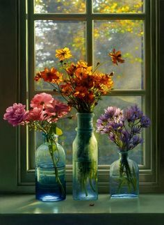 Freshly picked field flowers in old jars and placed on a window sill. Doesn't get any better than that! Deco Floral, Arte Floral, Ikebana, Fall Flowers, Beautiful Flowers, Colorful Flowers, Flowers In A Vase, Cut Flowers, Fresh Flowers
