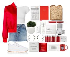 """""""red&denim"""" by themarshmallowmadness ❤ liked on Polyvore featuring Frame, Helmut Lang, Carven, Reebok, Clarins, Calvin Klein, Linda Farrow, Toast, NARS Cosmetics and Muji"""