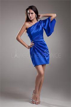 Robe de cocktail bleu mini pas cher Une épaule en satin textile élastique