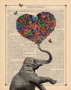 Dictionary Art Print, Butterfly Collage Print, Elephant Art, Vintage Dictionary Page Butterflies art. $10.00, via Etsy.