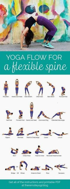 Easy Yoga Workout - Yoga Flow for a Flexible Bendy Spine - FREE PDF Print out this yoga flow and do it at home to promote a healthy spine and increase mobility. This one is challenging and sure to get the body fired up! Yoga Routine, Pilates Workout Routine, Ashtanga Yoga, Vinyasa Yoga, Bikram Yoga Poses, Yoga Flow, Yoga Meditation, Zen Yoga, Yoga Inspiration