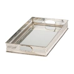 Silver home decor. Traditional Mirrored Silver Tray - Ethan Allen US