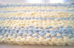 Twined Rag Rug Ivory Cream Off White Pale by CottonBirdRagRugs