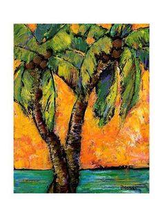 Palm Tree Art Print Beach Decor Sunny by blendastudio, Palm Tree Art, Palm Trees, Palm Tree Paintings, Tropical Paintings, Landscape Art, Landscape Paintings, Landscapes, Surf, Hawaiian Art