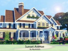 Sunset Avenue is a very cozy traditional family home built on lot in Willow Creek. Found in TSR Category 'Sims 4 Residential Lots' Sims 4 House Plans, Sims 4 House Building, Sims 3 Mansion, The Sims 4 Lots, Sims 4 Family, Sims 4 House Design, Casas The Sims 4, Suburban House, Sims 4 Build