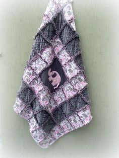 Rag Quilt Gift Set  I Love You This Big Pink by ArrivingAngels, $92.00