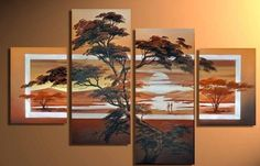 Fine 4 pieces Large Modern Abstract Art Oil Painting Wall Decor canvas NO frame Modern Oil Painting, Oil Painting On Canvas, Canvas Wall Art, Oil Paintings, Images D'art, Hand Painted Walls, Abstract Landscape, Abstract Art, Landscape Paintings