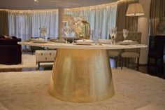 Gold leaf dining table | SISSY FEIDA INTERIORS