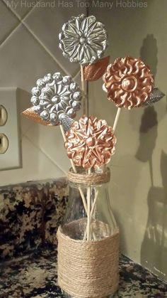 My Husband Has Too Many Hobbies : Copper & Aluminium Embossed Flowers for Beautiful Rustic Spring Decor