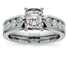 Cushion Channel Diamond Engagement Ring in Platinum http://www.brilliance.com/engagement-rings/channel-diamond-ring-platinum-1-ctw