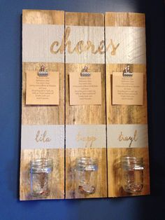 Mason jars repurposed fence picket washi tape on clips chore chart