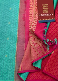 Put the anxious rational mind on hold. Respond to the call of the impulse in this gorgeous partly pallu turquoise saree with the pleats in stark ruby red. The embellished pink pallu has beautiful floral and mango zari worked onto it. Kanjipuram Saree, Pink Saree, Handloom Saree, Kurti, Indian Silk Sarees, Ethnic Sarees, Pure Silk Sarees, Wedding Silk Saree, Dress Wedding