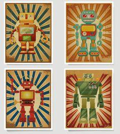Robot Art Collection, Boys Wall Art, Children's Room Art - 11x14