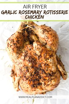 Air Fryer Garlic Rosemary Rotisserie Chicken is on your table in one hour and has the most juicy meat, but the most crispy skin. Add in the perfect combo of garlic and rosemary, and this is your next Sunday dinner! Air Fryer Oven Recipes, Air Frier Recipes, Air Fryer Dinner Recipes, Grilling Recipes, Cooking Recipes, Emeril Air Fryer, Rotisserie Chicken Seasoning, Roast Chicken Recipes, Lamb Recipes