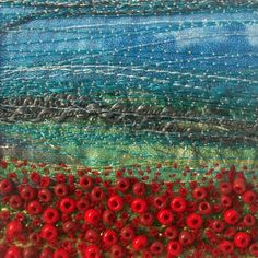 Handmade fabric and beads art card  Poppy field  by StitchMikki, $6.00