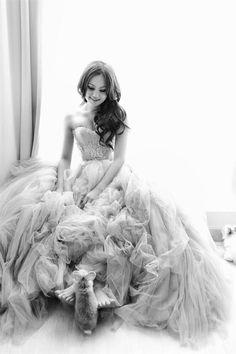 Melta Tan Gown WITH A BUNNY!!! gorgeous wedding photoshoot