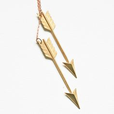 Brass Arrow Charms Suspended From a Brass Chain - Necklace