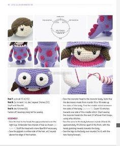 Little Ella 7 Crochet Toys Patterns, Amigurumi Patterns, Stuffed Toys Patterns, Crochet Dolls, Knit Crochet, Crochet Hats, Monsters Inc Crochet, Doll Tutorial, Amigurumi Toys