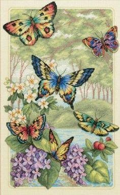 Counted Cross Stitch, Butterfly Forest