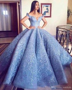 2018 New Gorgerous Off the Shoulder Blue Ball Gown Prom Dresses Lace Appliques Zipper Back Formal Dresses Evening Wear Party Gowns Dresses Modest Blue Ball Gowns, Ball Gowns Prom, Party Gowns, Ball Dresses, Prom Party, Dresses Dresses, Dresses Online, Party Dress, Formal Dresses For Women