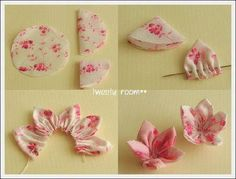 crafts from the world: Diy fabric flower Tissue Flowers, Kanzashi Flowers, Felt Flowers, Diy Flowers, Fabric Flowers, Paper Flowers, Fabric Crafts, Sewing Crafts, Fleurs Diy