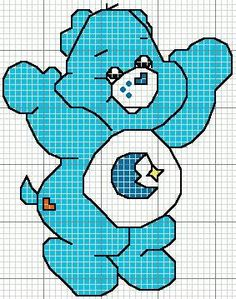 Corner Embroidery: Cross Stitch Chart Care Bears